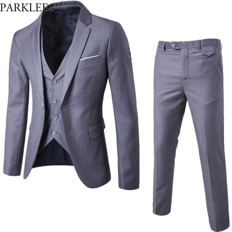 Серый мужской Slim FIt One Button 3 шт. Костюмы Блейзер со штанами 2019 Новый Бизнес Свадебная вечеринка куртка жилет и брюки костюм Homme