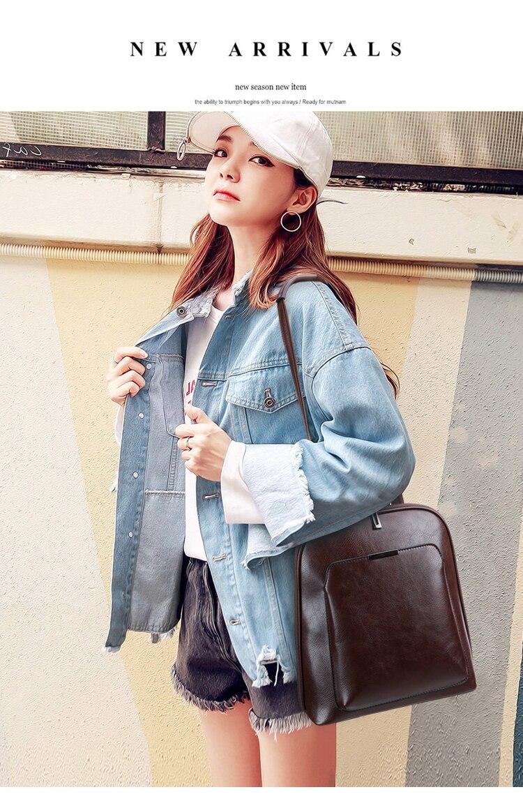 HTB1MiSQcNjaK1RjSZFAq6zdLFXan 2018 Women Backpack high quality PU Leather Fashion Backpacks Female Feminine Casual Large Capacity Vintage Shoulder Bags