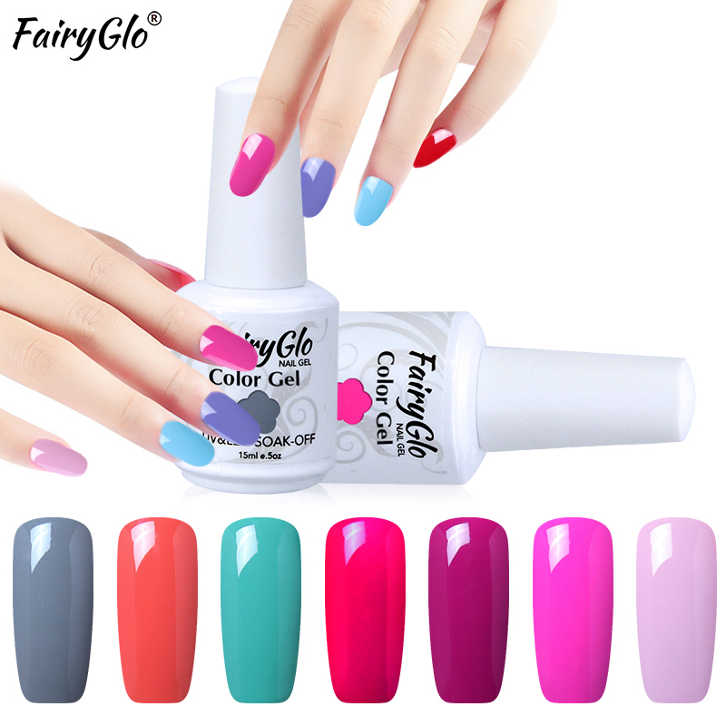 9540396542 FairyGlo 15 ML Gel de uñas barniz Color puro UV esmalte de uñas de Gel de  baño Gel polaco Semi permanente pintura Gellak uñas laca