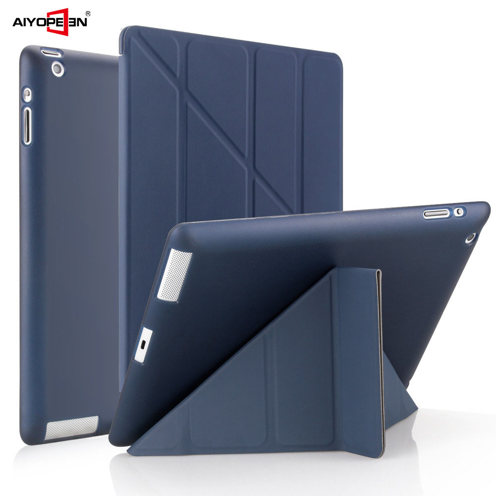 Case For IPad 2 3 4 A1460 Case Silicone Soft Back Flip Stand With Auto Sleep/Wake Up PU Leather Smart Cover For IPad 3 4 2 Case