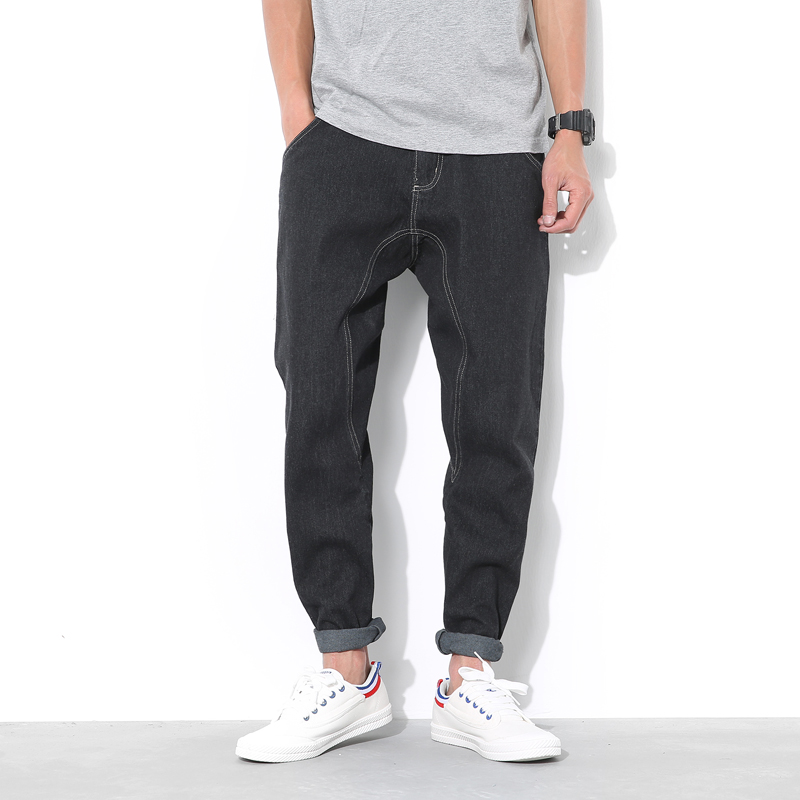 ФОТО Casual harem pants men Black color Oversized xxl xxxl xxxxl xxxxxl Jeans trousers