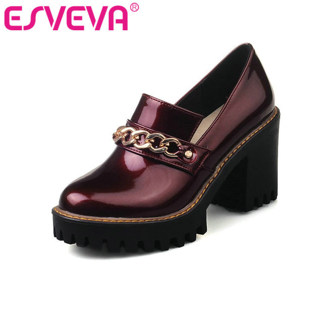 ESVEVA 2018 Soft PU Spring Autumn Casual Shoes Chains High-heel Shoes British Style Thick Heels Platform Pumps Black Size 34-43