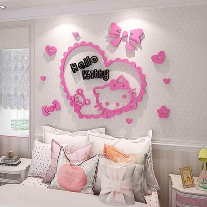 Hello Kitty DIY Wall Stickers For Kids Rooms Bedrooms 3D Acrylic Lovely Decals Poster Removable