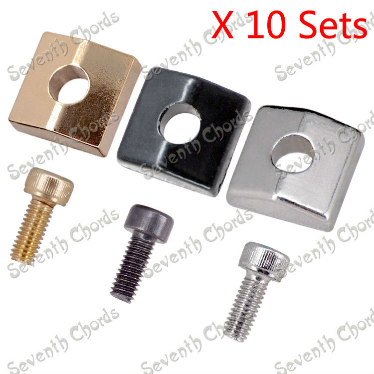 10 set locking nut blocks clamp hexagon screws for electric guitar tremolo bridge double. Black Bedroom Furniture Sets. Home Design Ideas