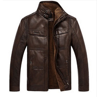 2016 PU Leather Jacket Men Brand High Quality Velvet Warm Winter Motorcycle Business Casual Mens Leather