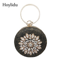 2018 Women Circle Top Handle Bags Flower Diamonds Straw Weave Evening Bag Korean Rhinestone Round Wedding Party Clutches Handbag