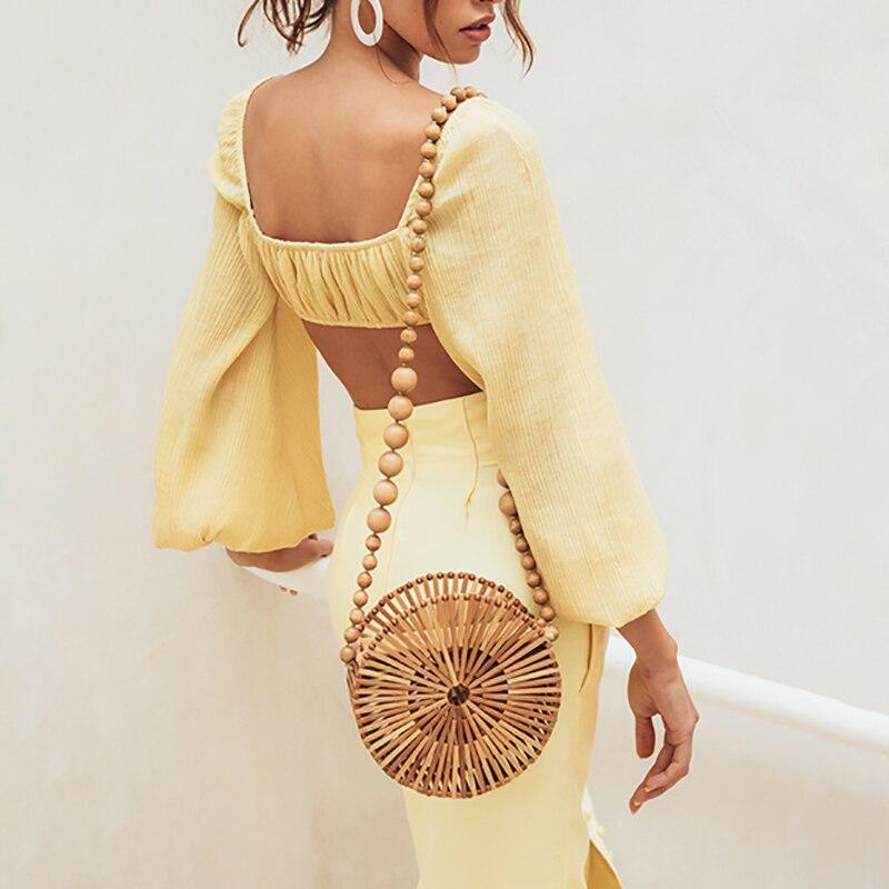 SISPELL été petit haut femme Slash cou hors épaule lanterne manches courtes longueur mince Blouse femmes mode nouveau Style de plage - 4