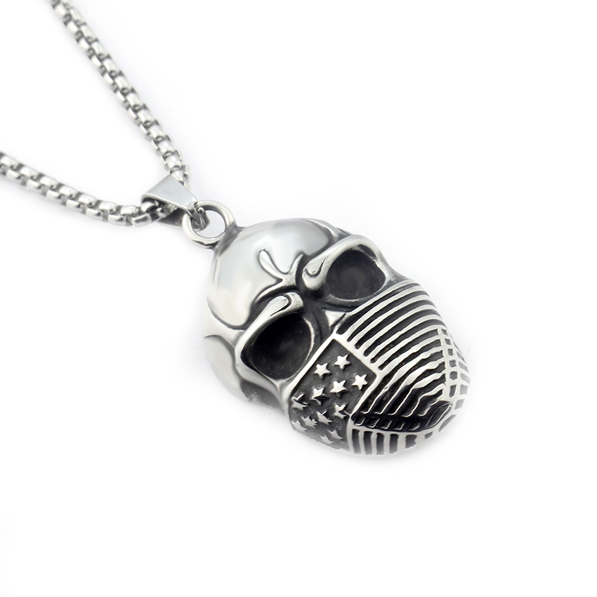Gothic Punk Cool Mens Stainless Steel Skull Necklace Men Boys
