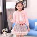 Girls Halloween Outfits Set Lace Bow Princess Set Girl Autumn Clothing Set Lace Jacket +Pleated skirt+White cotton shirt 3pc
