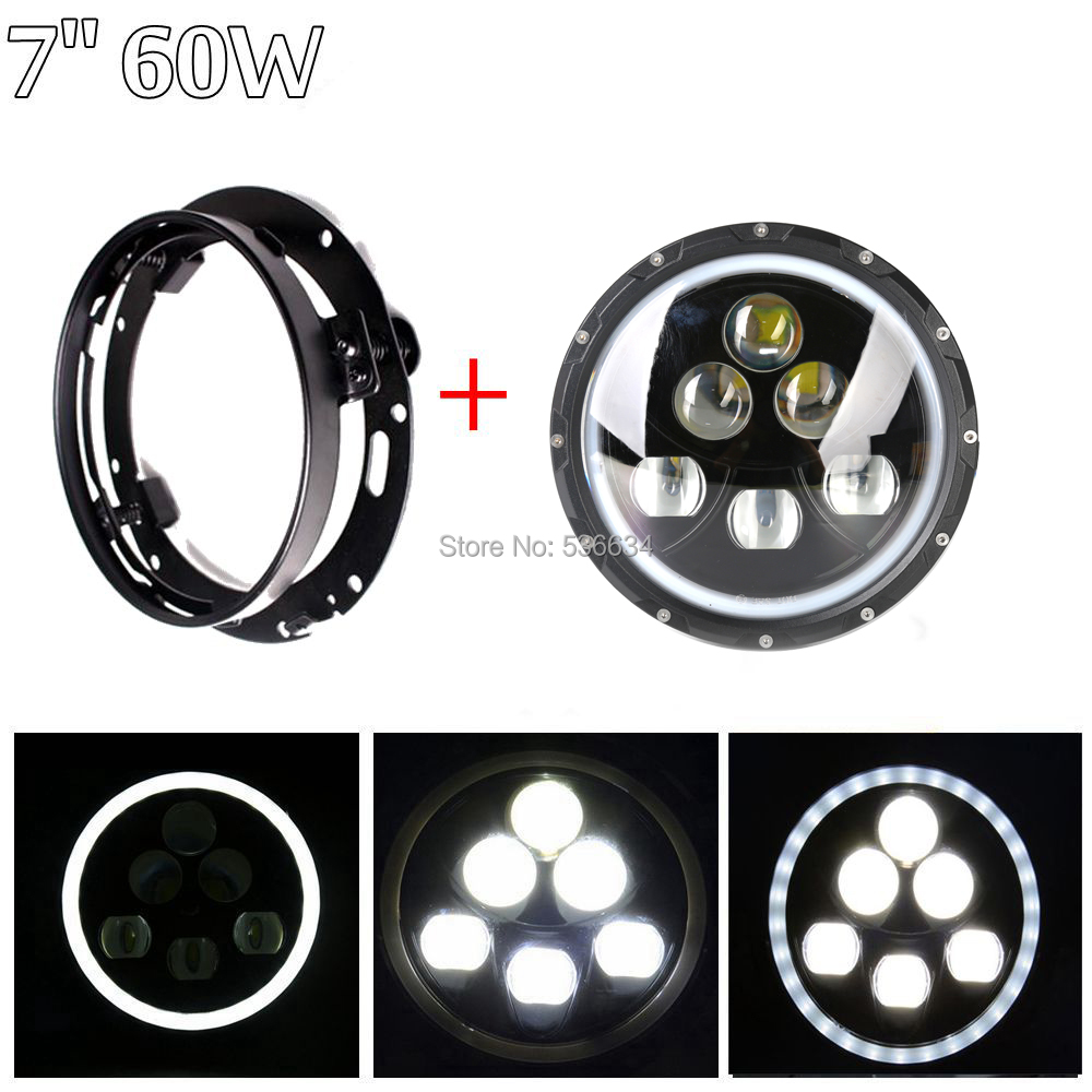 60W 7Inch LED Round Projector Daymaker Headlight Hi/Low Beam + Headlight Mounting Bracket Ring For Electra Glide Classic(FLHTC) 7inch led projector daymaker headlight hi low beam led headlight mounting bracket ring for electra glide ultra classic efi
