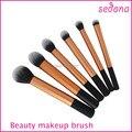 6 piece gold cosmetic makeup brush kit, gold super soft taklon hair makeup brush basic professional kit