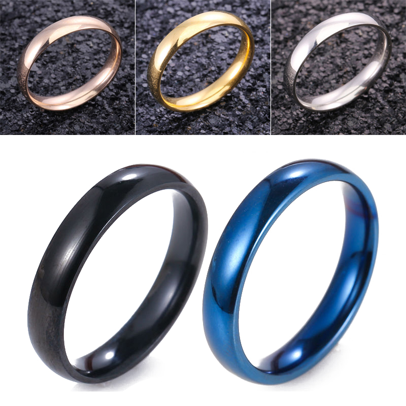 Latest Fashion Fortunately Rose Gold Women Men Polished Stainless Steel Ring Convention Jewelry Wedding Band Ring Valentine Gift