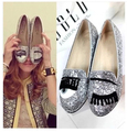 New 2016 Women Fashion big eye eyelash flat shoes lady brightly glitter loafer shoes