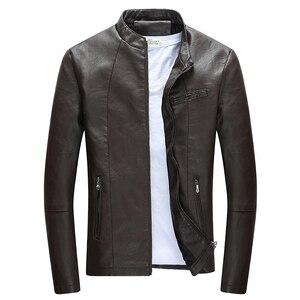 Image 4 - Autumn Winter Mens Casual Zipper PU Leather Jacket  Motorcycle Leather Jacket Men Leisure Clothing Mens Slim Leather Jacket