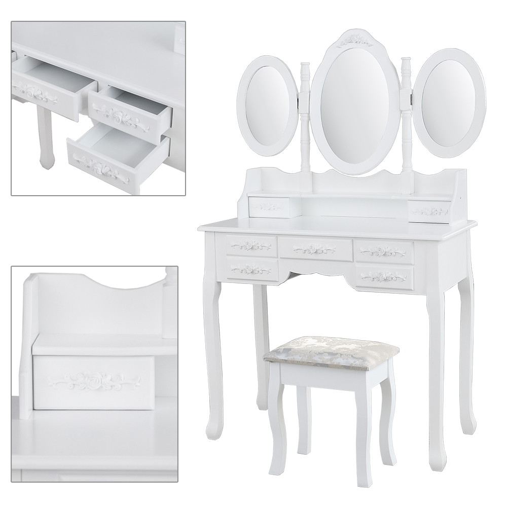 Mesa Maquillaje 3 Mirrors 7 Drawers Make up Table Dresser solid wood Kosmetiktisch muebles de dormitorio Dressers with stool ship from germany makeup dressing table with stool 7 drawers adjustable mirrors bedroom baroque style