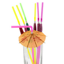 50 Pcs guarda-chuva bebida palha Misturados Hula Havaiana Beach Party Cocktail Umbrella Parasol Palhinhas,(China)