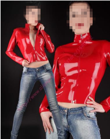 Fetish Latex Rubber Top Women With Front Zipper Sexy Full Sleeves Latex Shirt Plus Size Hot