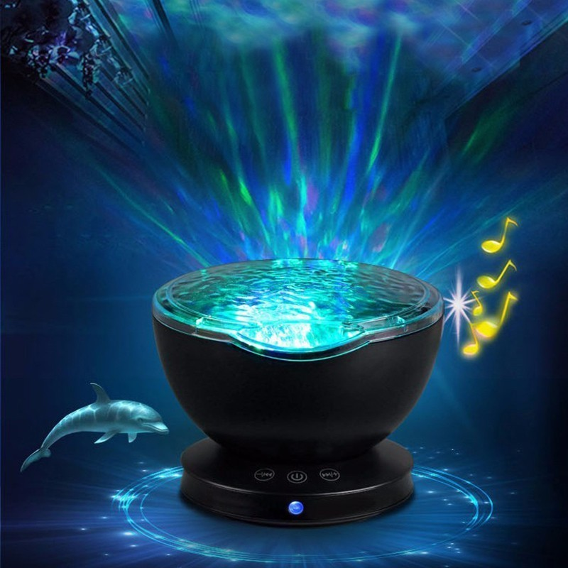 Projector Night Light Star Sky Ocean Wave Music Player Baby Kids Sleeping Light Romantic LED Starry Star Master USB Aurora Lamp
