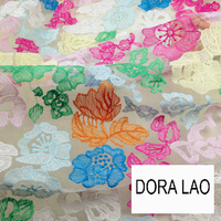 120cm wide multicolour organza embroidery three dimensional flowers one piece dress full dress lace fabric material