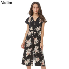 dc7fa687884 Vadim women vintage V neck floral jumpsuits wide leg pants sashes pleated