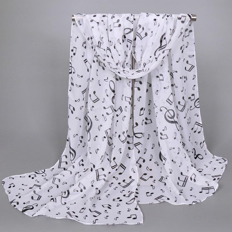 White Fashion Lady Women Soft Chiffon Musical Note Neck Shawl   Scarf     Wrap     Scarves   Print Voile   Wrap   Pashmina Stole Muslim Hijab