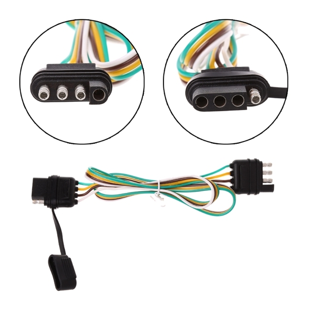 4 pin flat pvc trailer light plug wire harness connector for caravan af  6/12/24v auto cables adapters sockets