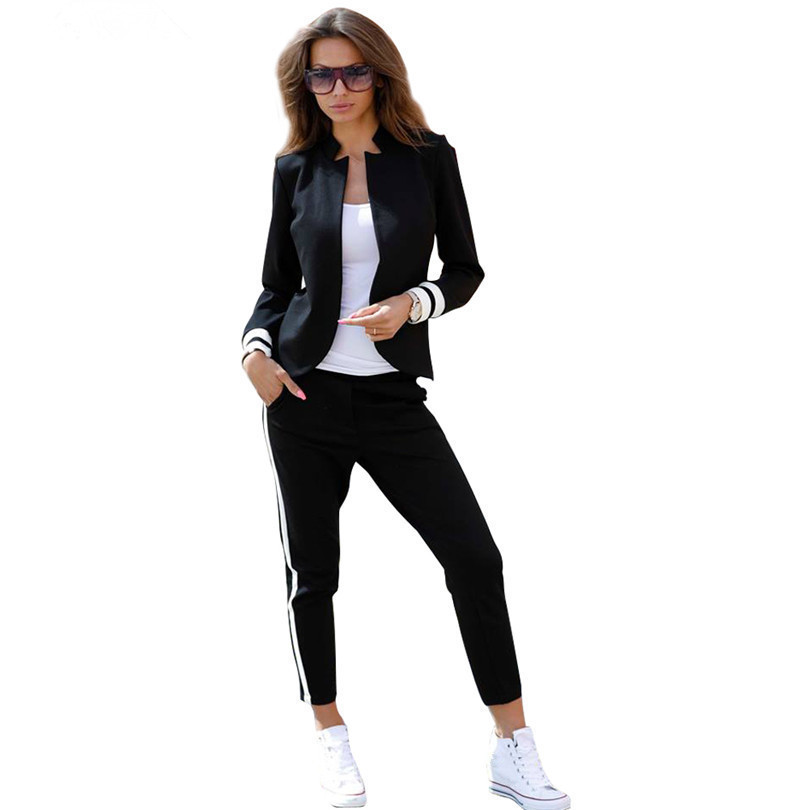 Tapakva women 2 two Piece Set suits Long sleeve stand-up collar buttonless Black and white tracksuit