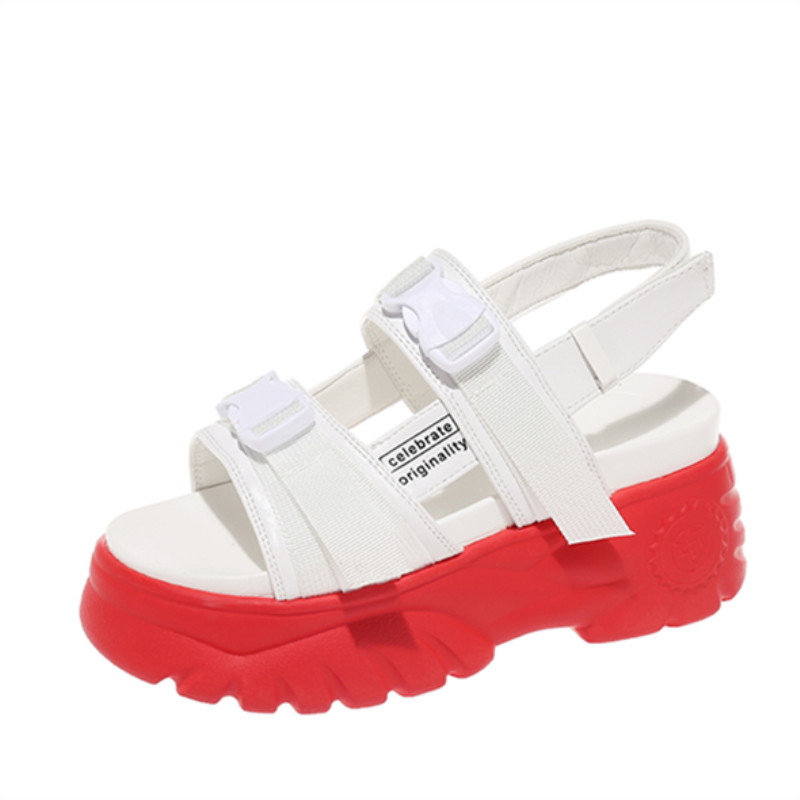 Women 39 s Sandals Summer Thick Sole Women Platform Shoes Fashion High Heel Beach Ladies Flat Sandals Sandalia Feminina Sneakers in High Heels from Shoes