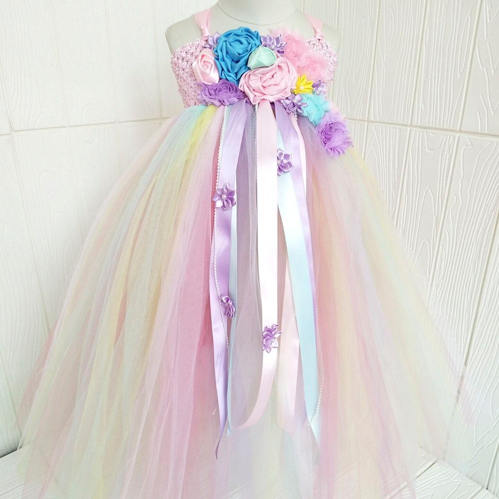 Girl Dresses Kids Long Unicorn Costume for Girls Ankle Length Sleeveless Flower Unicorn Party Dress Tutu Little Pony Ball Gown (14)