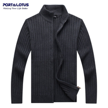 Port&Lotus Men Winter Sweaters Cardigan Mens 100% Cotton Sweater Mens Brand Clothing YZ001