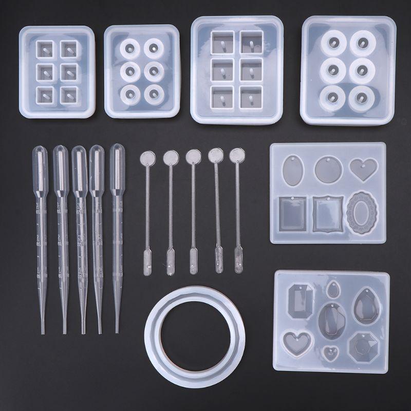 17pcs/set Resin Casting Molds Epoxy Handicraft Kit Silicone Mold Making Jewelry Pendant Mould Craft DIY Set Mixing Spoon