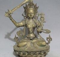 Chinese Brass Buddhist Lotus Manjusri Kwan yin GuanYin Goddess On Ride Statue