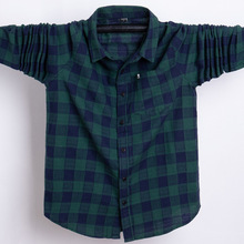 Shirt Business Retro-Style Long-Sleeve Plaid Oxford Plus-Size Casual High-Quality 5XL