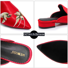 WETKISS Pointed Toe Chunky Heels Mules Chinese Ethnic Style