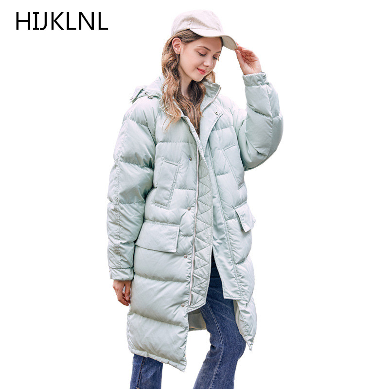 2019 Winter New Women's   Down   Jacket Long Loose Hooded Outer Thick Warm 100% White Duck   Down     Coat   TQ293