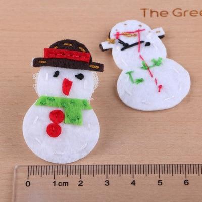 20pcs Lot Handmade Wool Felt On Stickers Glitter Bling Christmas Snowman Craft Sticks Fit Women Hair Jewelry Headband In From