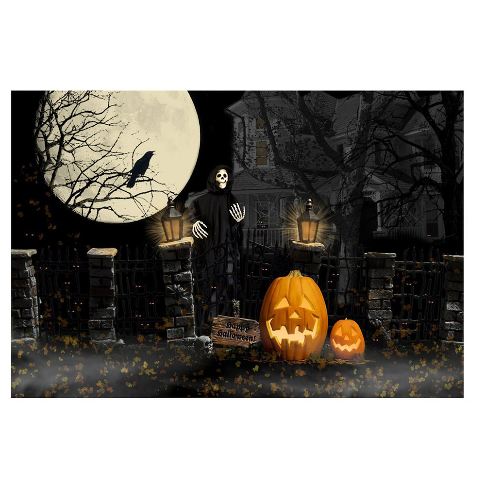 7*5ft Halloween Theme Photography Backgrounds Full Moon Pumpkin Black Raven Haunted House Photo Backgrounds for Studio Props shein faux fur trim hood embroidery applique coat casual women winter coats navy long sleeve zipper hooded coat