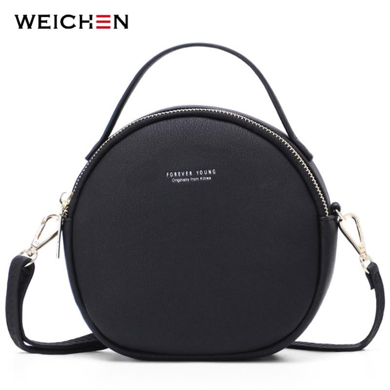 WEICHEN NEW Circular Design Women Shoulder Bag Leather Crossbody Messenger Bags Female Round Bolsa Fashion Ladies Handbag