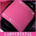 Ladycrystal luxo couro pu almofadas de assento de carro tampas de assento do carro auto para meninas das senhoras das mulheres de diamante de cristal