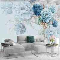 Papel pintado personalizado Estilo nórdico peonía pintada a mano Floral Mural Pastoral sala De estar TV Fondo pintura De pared Papel De pared