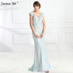 Image 4 - Luxus V ausschnitt Meerjungfrau Tüll Abendkleid Perlen Harte arbeit Lange Abendkleider 2020 Ruhigen Hill LA6049