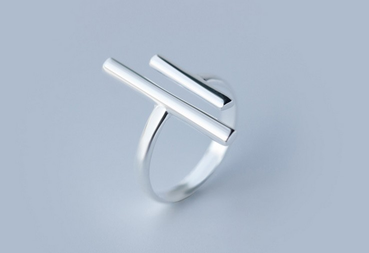 NEW Solid 925 Sterling Silver Adjustable Shorter &Longer Straight Bar Design Ring For Cocktail GTLJ727