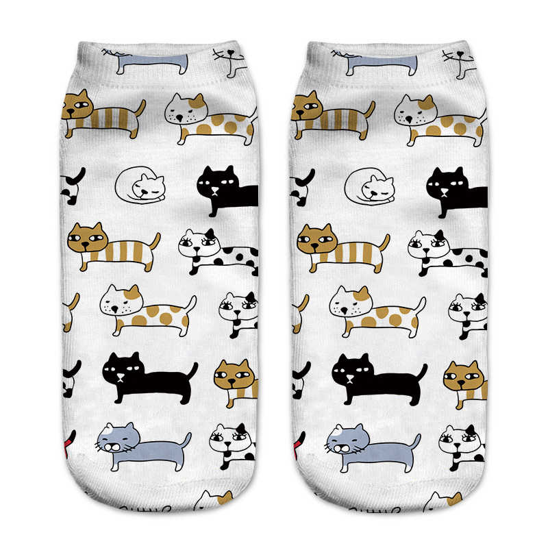 New3D Baskı Kedi Çorap Pusheen Zürafa avokado Bayrak balık Kadın Çorapları Sevimli Ayak Bileği Çorap Çoklu Karikatürler Rahat Tipi Genç çorap