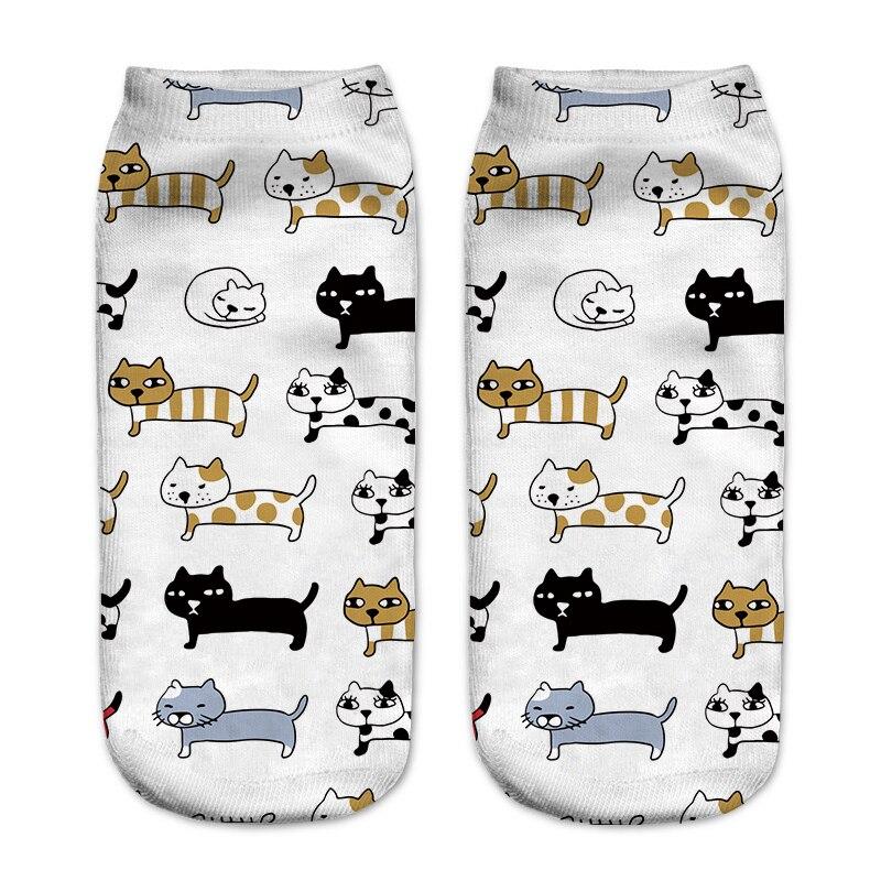 New3D Print Cat Socks Pusheen Giraffe Avocado Flag Fish Women Socks Cute Ankle Sock Multiple Cartoons Casual Type Teenager Socks