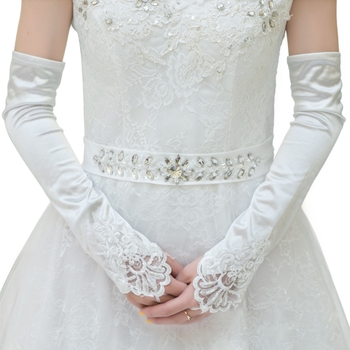 Womens Bridal Long Gloves Fingerless Embroidery Lace Trim Beaded Sequins Wedding Bridal Gloves