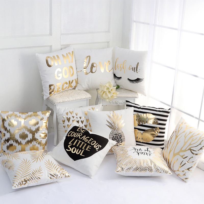 2019 Gold Bronzing Pillow Cases Luxury Geometric Pineapple Cotton Pillow Case White Bedroom Home Office Decorative(China)