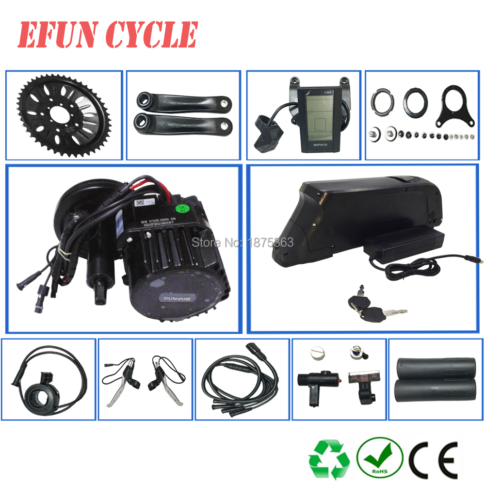 Free shipping Mid drive motor kits Bafang BBSHD/BBS03 48V 1000W with 48V 13Ah USB down tube battery for fat tire bike+Color LCD