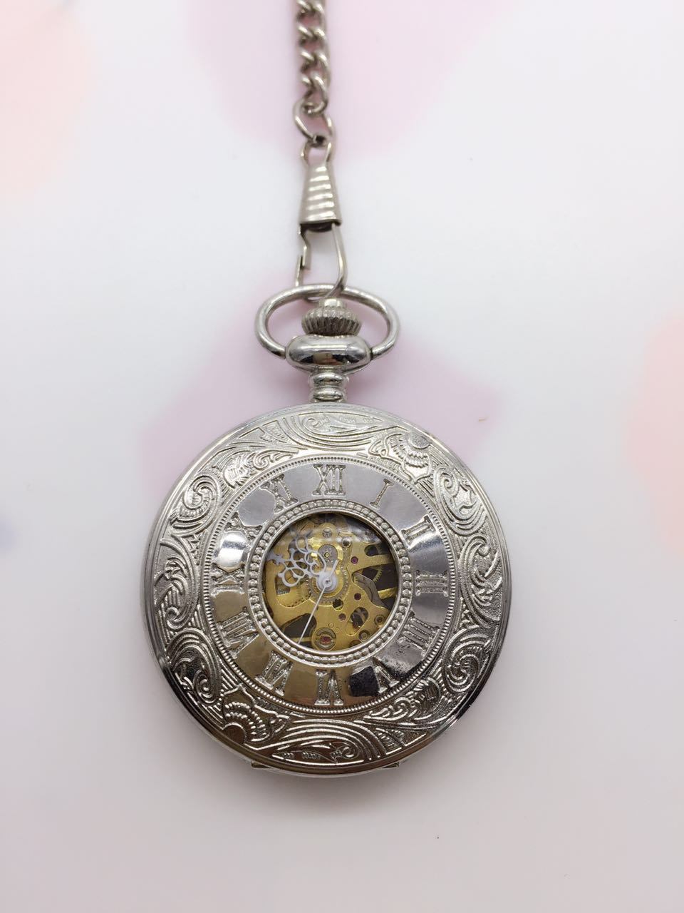 Wholesale Antique Silver Polish Case Hand Wind Mechanical Men Pocket Watch GIFTS Drop Shipping P34