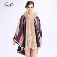 Faux Fox Cuello de Piel Con Capucha Capa Escudo Otoño Invierno Moda Cardigan de Punto de Lana de Cachemira Suéter de Mujeres Capas y Ponchos
