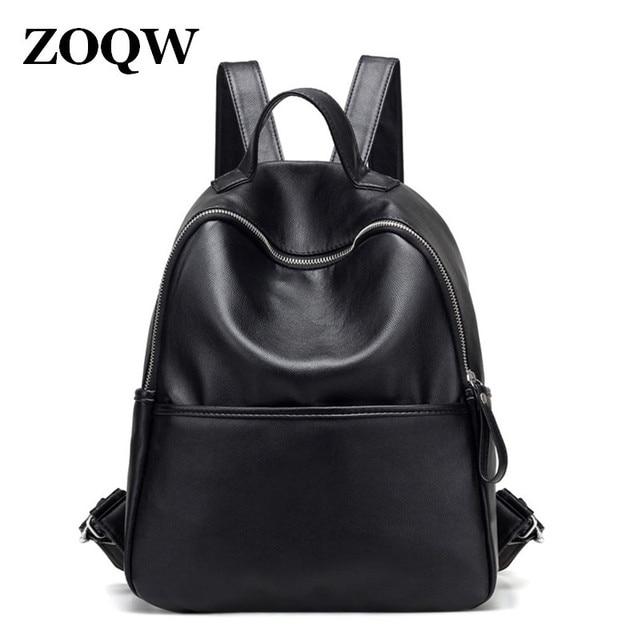 8f3479c9357 2018 New Fashion PU Leather Ladies Shoulders bag Large Capacity School bag  Black soft side Backpack Women s backpack SW0099